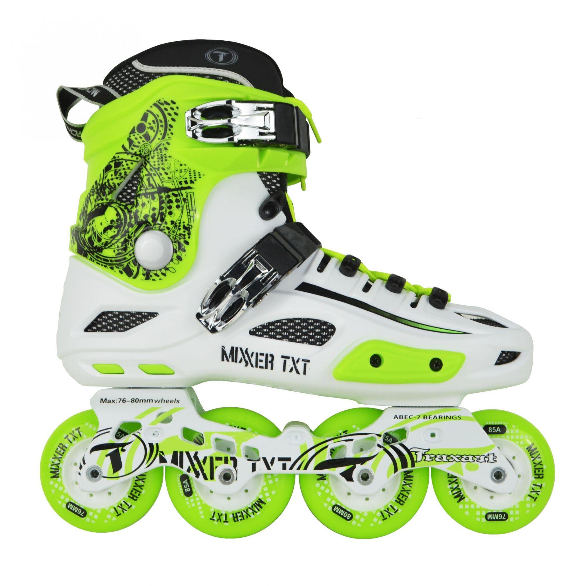 Patins Traxart Freestyle Mixxer TXT Branco - Rodas 72x76mm/76x80mm ABEC-7 Cromo