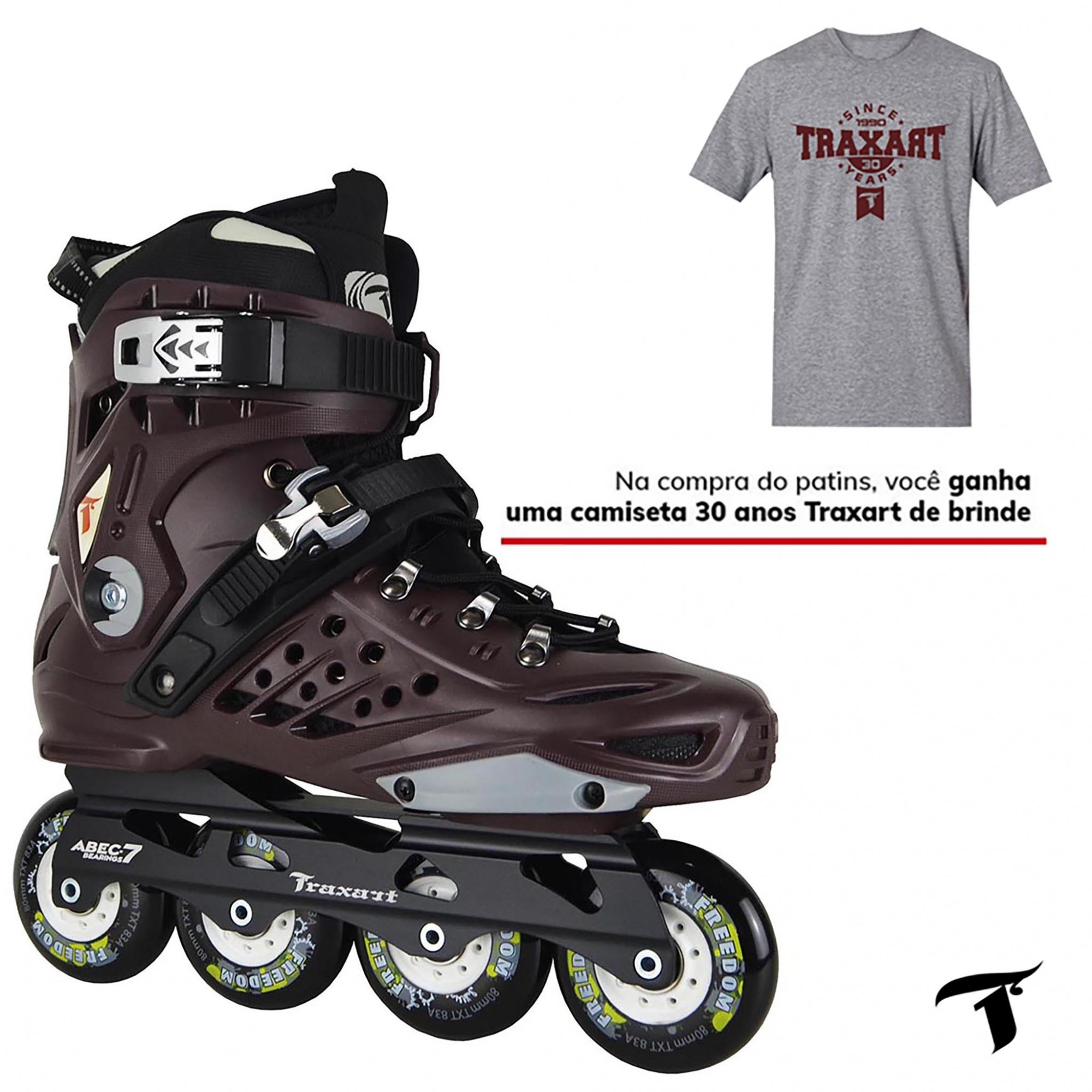 Patins Traxart Freestyle TXT Freedom - Rodas 80mm ABEC-7 Cromo