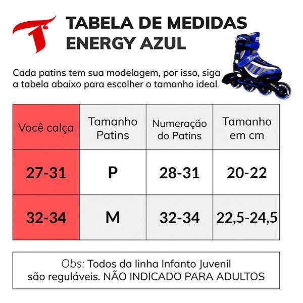 Patins Traxart Infanto Juvenil Energy Azul - Regulável ABEC-5 - Traxart