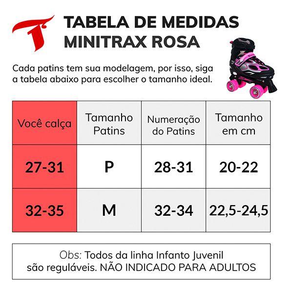 Patins Traxart Infanto Juvenil Mini Trax Preto/Rosa - Regulável ABEC-7 - 10% À VISTA NO BOLETO OU 1X NO CARTÃO