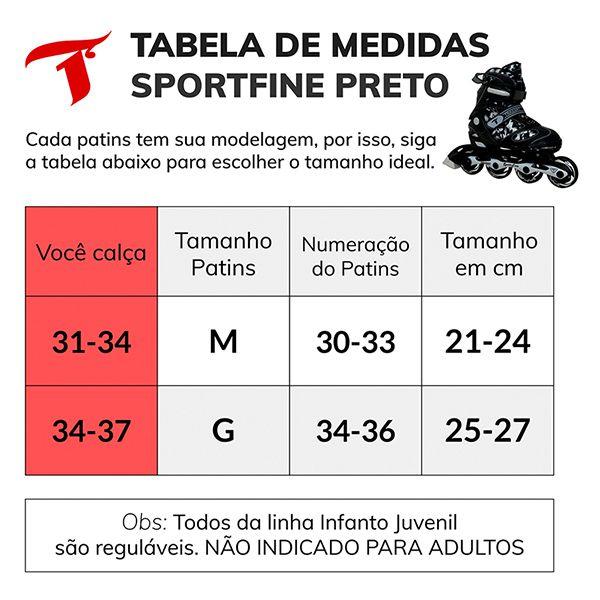 Patins Traxart Infanto Juvenil Sport Fine Preto/Cinza - Regulável ABEC-7