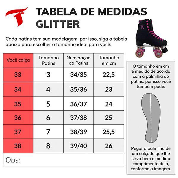 Patins Traxart Quad Glitter Preto - Rodas 58x32mm/83A - Tamanho # 3 - 34/35