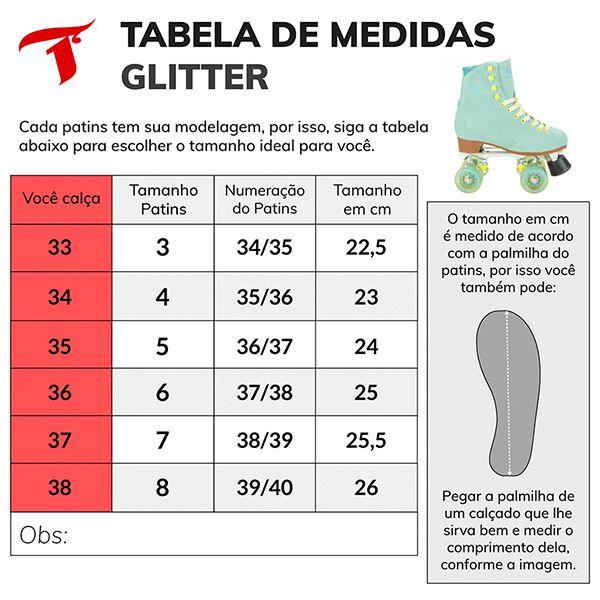 Patins Traxart Quad Glitter Turquesa - Rodas 58x32mm/83A