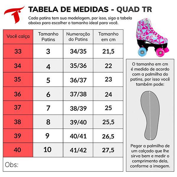 Patins Traxart Quad TR Azul/Rosa - Rodas 58x32mm/83A ABEC-3