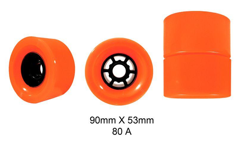 Rodas Traxart Longboard 90 X 53mm -Laranja -  DL-049