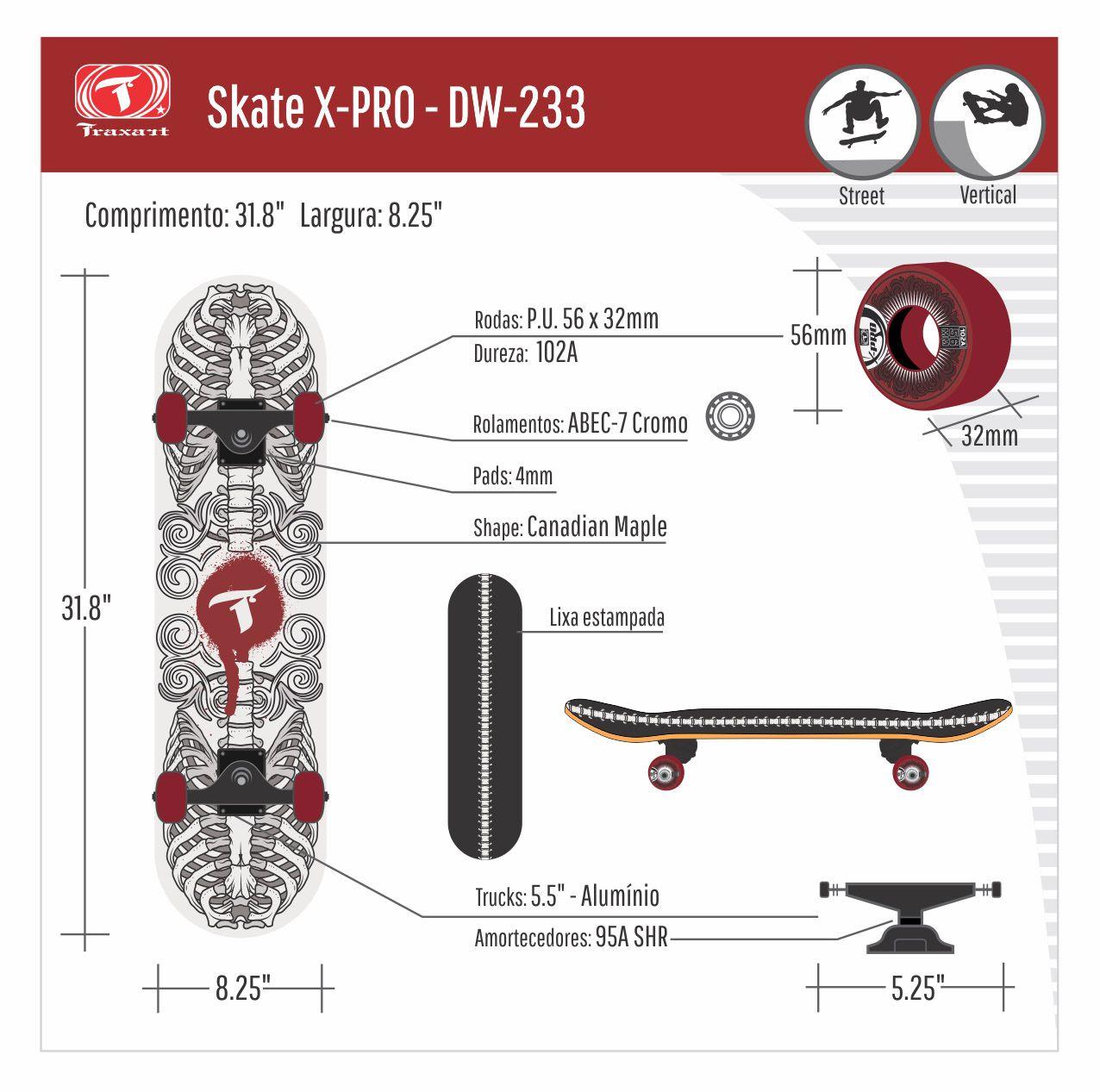 Skate Profissional X-Pro Traxart - DW-233