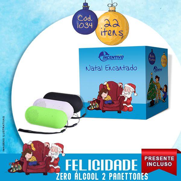 Cesta de Natal Felicidade 2 Panettones- Zero Álcool  - Cesta Incentivo - Cesta Básica e Cesta de Natal