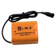 Bateria Externa para Farol Bicicletas JWS Recarregável de 6 células 18650 8.4v 28800mAh