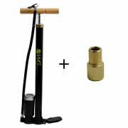 Bomba de Oficina Bicicleta com Mangueira e Manômentro Schrader e Presta WG Sports 35x500mm 100psi