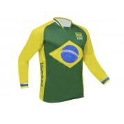 Camisa de Ciclismo Bike ERT Manga Longa para Downhill Cores do Brasil - Tamanho G