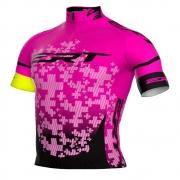 Camisa Feminina de Ciclismo Bike ERT Elite Team Rosa com Preto - Vários Tamanhos