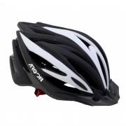 Capacete Bicicleta Argon Preto com Branco Com Viseira Tamanho M 54-57cm Speed ou MTB com LED