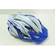 Capacete Bike Prowell F44 Blading Cor Branco com Azul Escuro Tamanho G Com Viseira