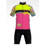 Conjunto de Ciclismo Infantil Camisa + Bermuda Stickers Rosa - Vários Tamanhos