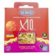 Corrente Bicicleta KMC X10 Ti-N Dourada 10 velocidades 116 links com Missing Link