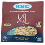 Corrente Bicicleta Kmc X9 Ti-n Dourada 9 velocidades 116 Links com Missing Link