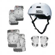 Kit de Proteção Skate Patins Traxart Branco Dk 619 Capacete Niggli