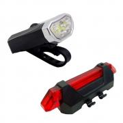 Kit Lanterna Dianteira Bicicleta WS-205 e Sinalizador Traseiro JY-918 JWS Recarregável