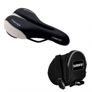 Kit Selim bicicleta MTB Vortex Confort 180mm com Bolsa Selim KPower Shimano Preto