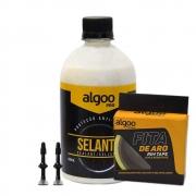 Kit Tubeless Algoo Com Fita 21mm - Liquido Selante 500ml e Bicos p/ Pneus Sem Câmara 26 27.5 29