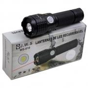 Lanterna Tática Farol WS-610 com Led e Laser Bateria Recarregável 1000 lumens