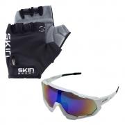 Luva Ciclismo Skin Gel G Preto com Óculos de Proteção Genesi Esportivo UV400