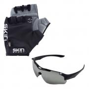 Luva Ciclismo Skin Gel M Preto com Óculos Esportivo New Street UV400 Preto