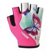 Luvas de Ciclismo Feminina Batfox Borboleta Dedo Curto Cor Branco com Rosa