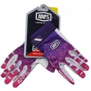 Luvas de Ciclismo Feminina 100% S Dedo Fechado Degrade Branco Pink e Roxo Sem Gel