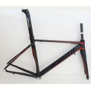 Quadro Speed Vicinitech Roubaix Preto com Vermelho em Aluminio Garfo Carbono