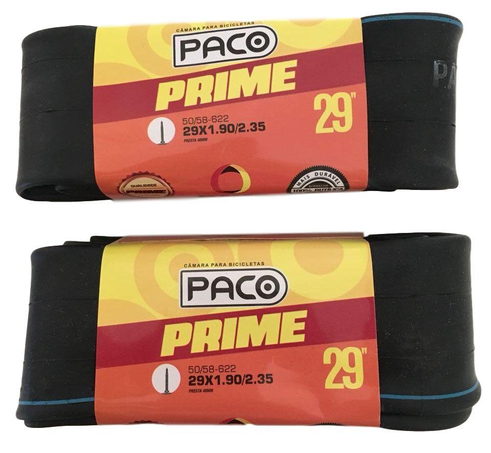 2 Câmaras de Ar Paco Aro 29 x 1.90-2.35 Com Válvula Presta 48mm