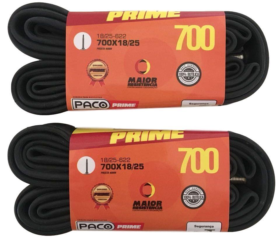 2 Câmaras de Ar Paco Aro 700 x 18/25 Com Válvula Presta 48mm