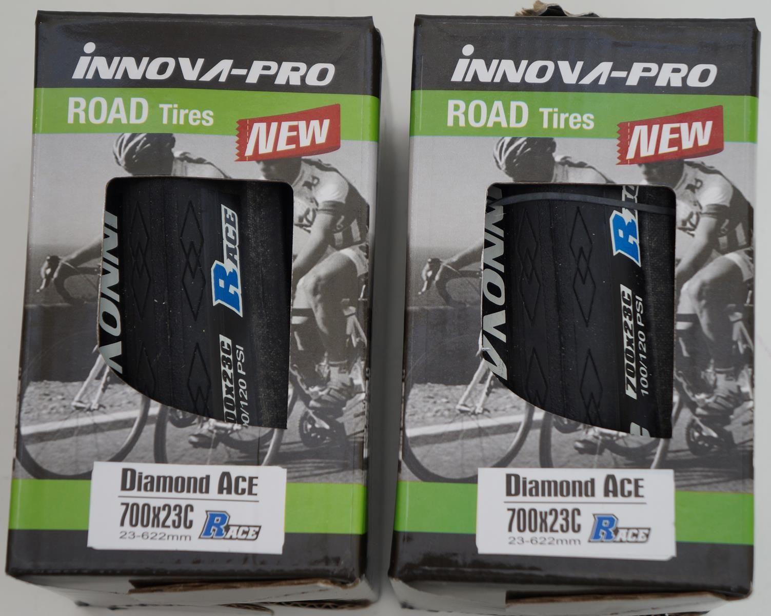2 Pneus Innova Pro Diamond Ace 700x23 em Kevlar para Speed Preto