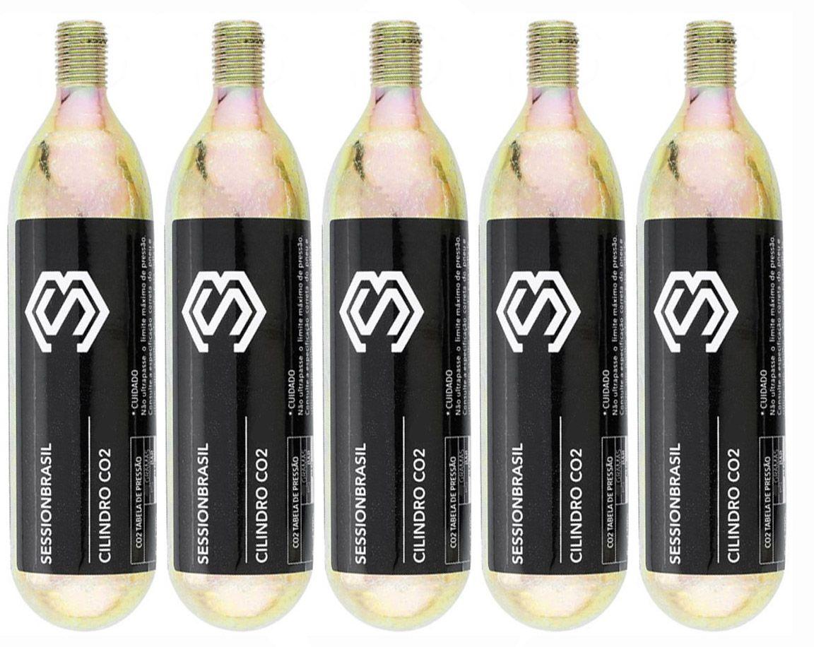 5x Cilindros Cartuchos CO2 Session Refil De 16 gramas com Rosca para Bicicletas Aros 700 26 29