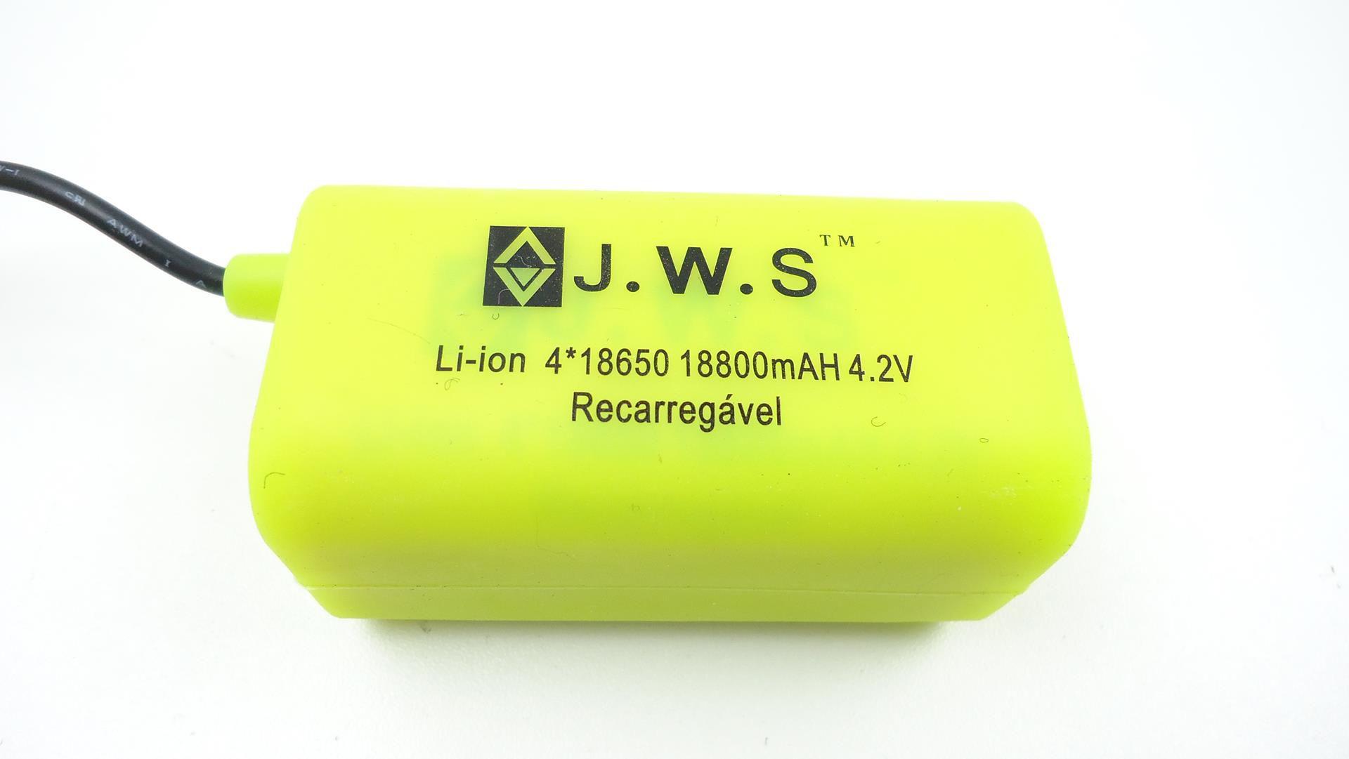 Bateria Externa para Farol Bicicletas JWS Recarregável de 4 células 18650 4.2v 18800mAh