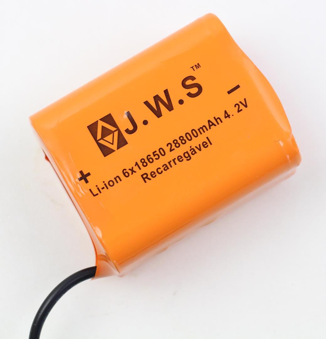 Bateria Externa para Farol Bicicletas JWS Recarregável de 6 células 18650 4.2v 28800mAh