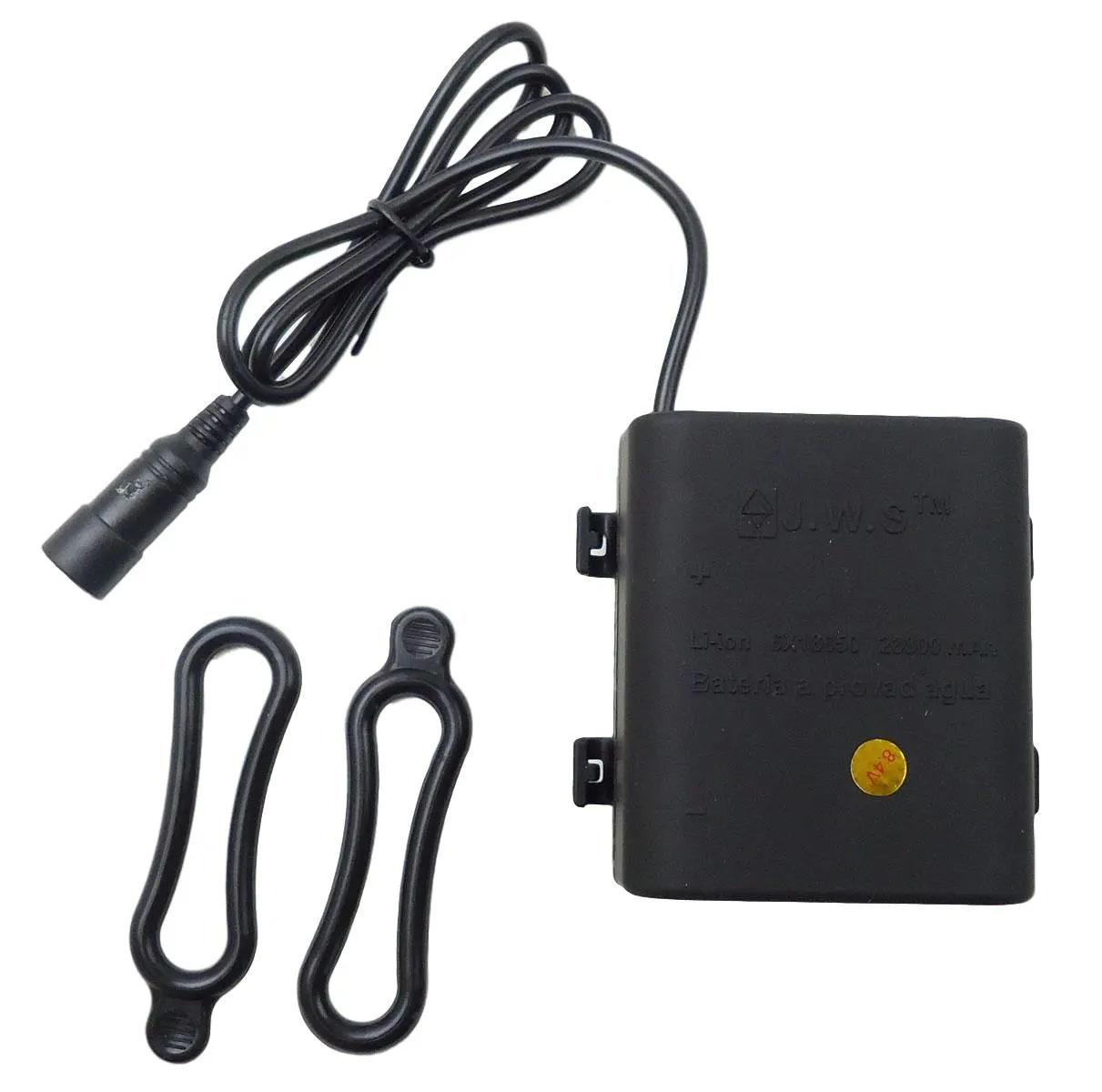 Bateria Externa para Farol Bicicletas JWS Recarregável de 6 células 18650 4.2v 28800mAh Selada Blindada