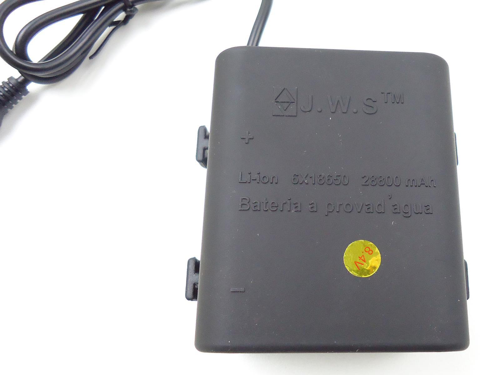 Bateria Externa para Farol Bicicletas JWS Recarregável de 6 células 18650 8.4v 28800mAh Selada Blindada