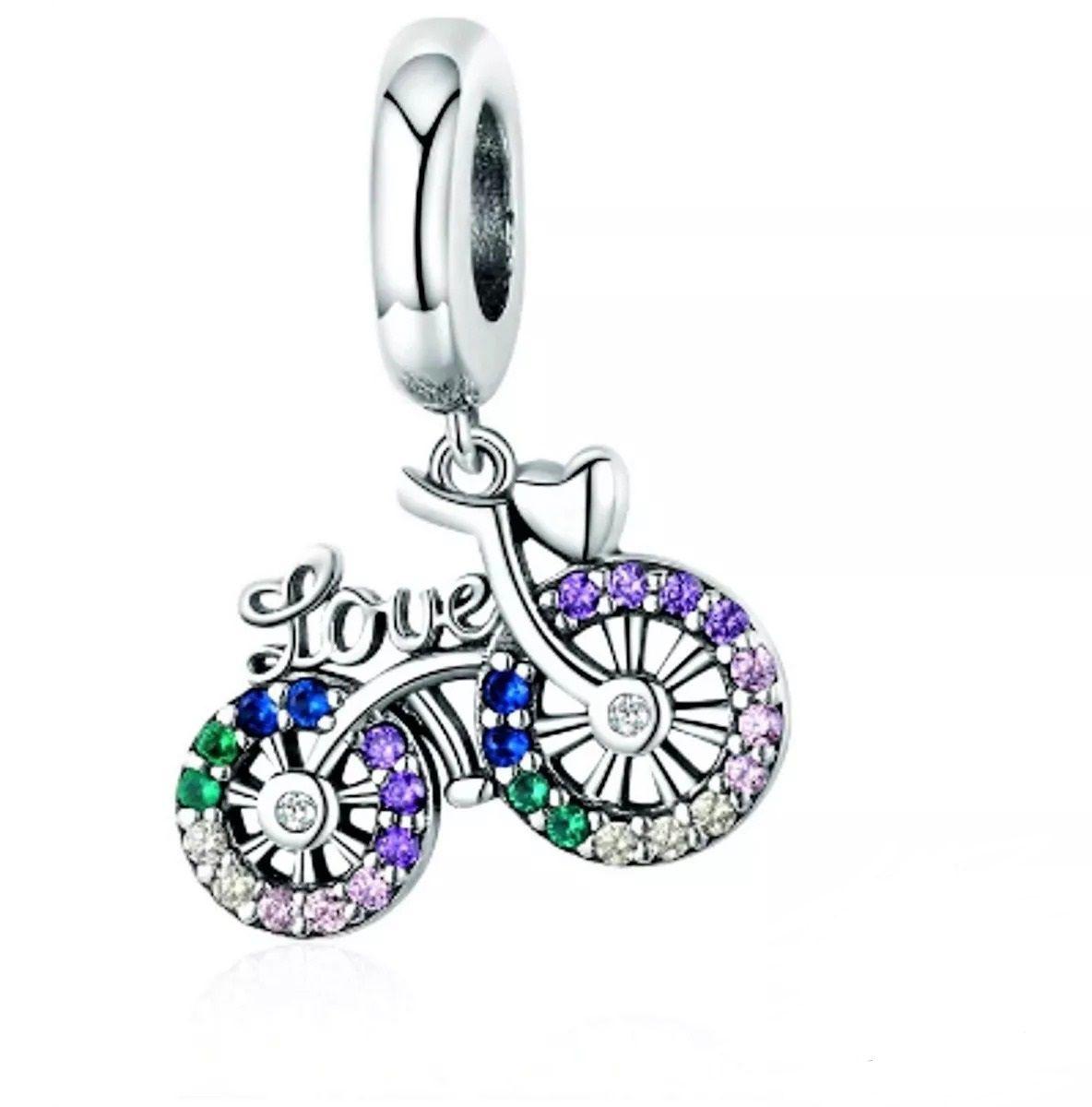 Berloque de Bicicleta Love Charm para Pulseiras e Colares em Prata 925