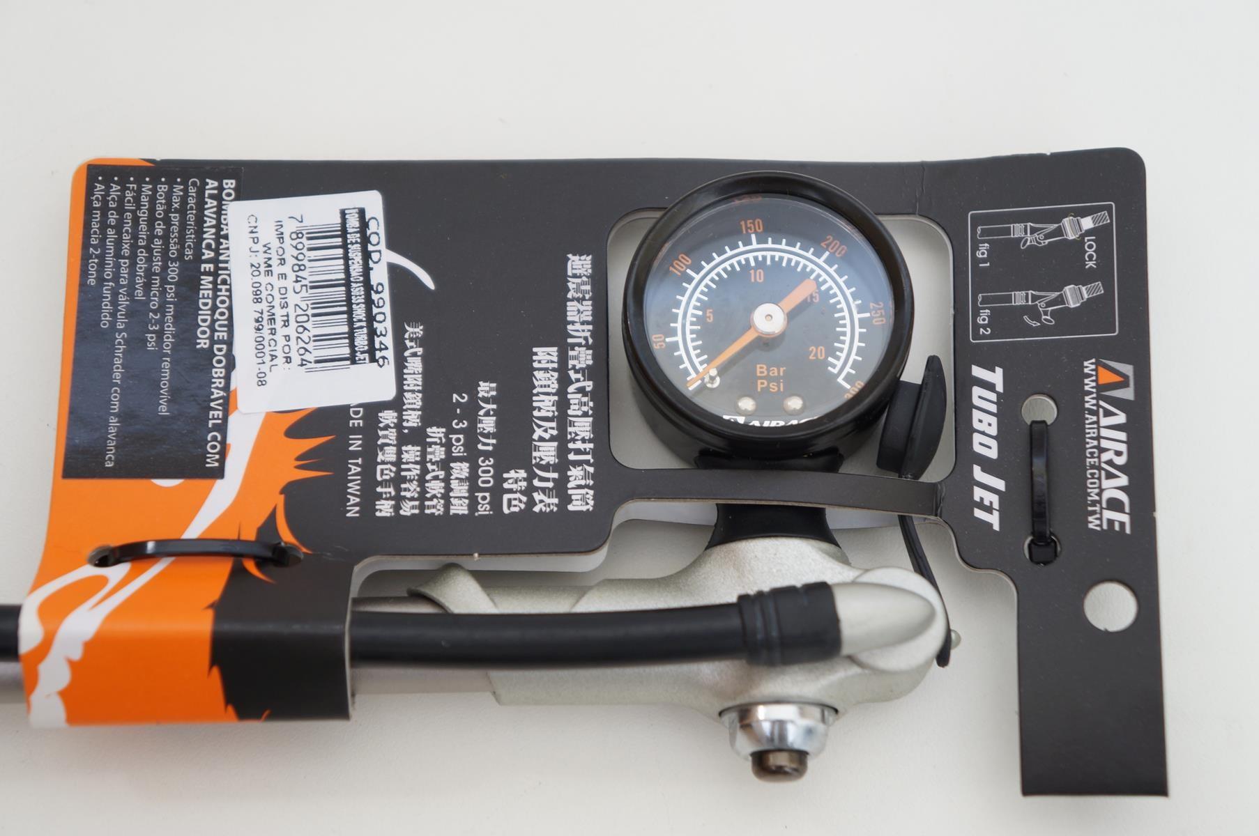 Bomba De Calibragem Ar Suspensão e Shock Airace Turbo Jet 300psi com Manômetro
