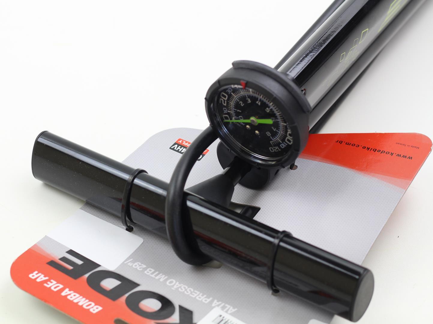 Bomba de Pé para bicicletas Kode GF94HV em Aluminio Com Manômetro 120psi
