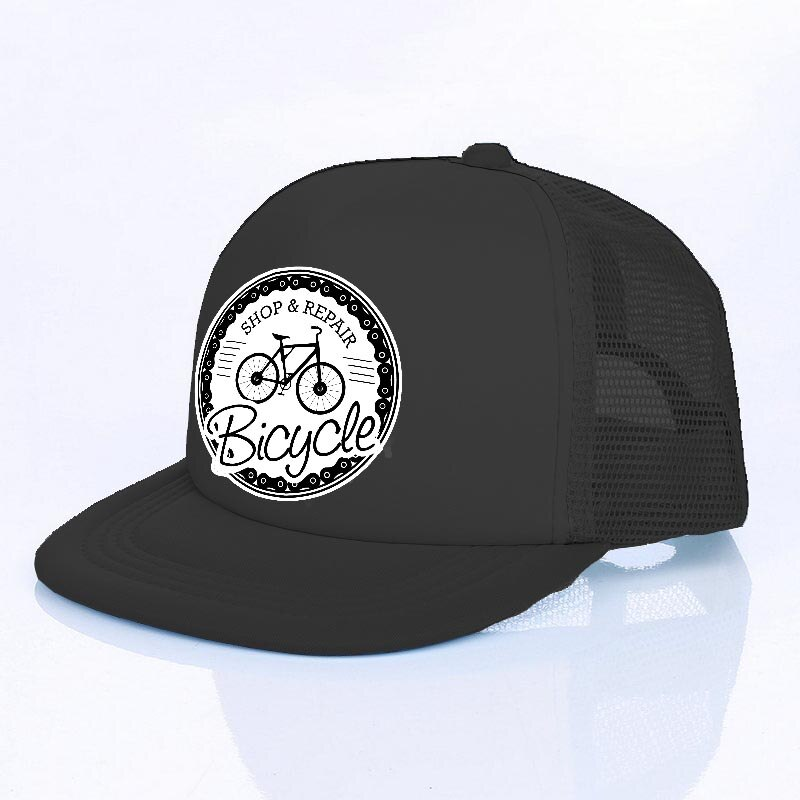 Boné Bike Snapback Bicycle Preto Com Regulagem Aba Reta