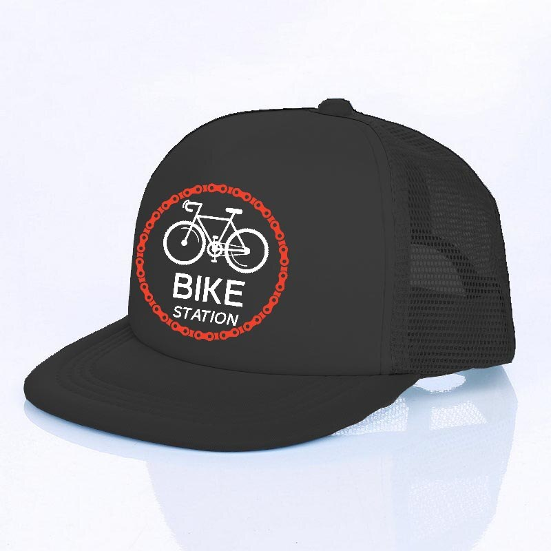Boné Bike Snapback Bike Station Preto Com Regulagem Aba Reta