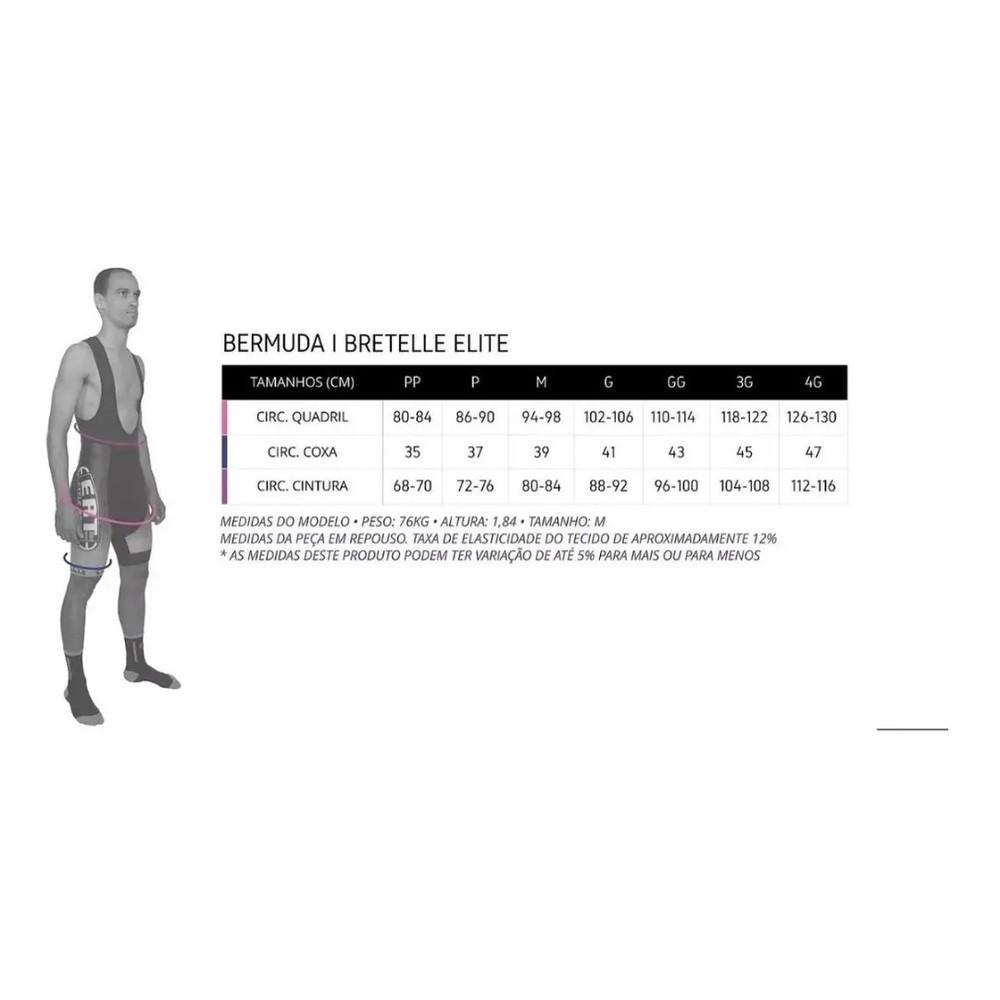 Bretelle Para Ciclismo ERT Elite Forro Dual Pro Cor Preto Liso - Vários Tamanhos