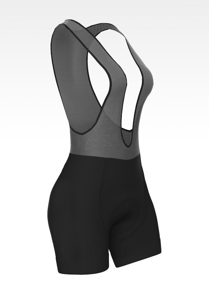Bretelle Para Ciclismo Feminino ERT Elite Forro Dual Pro Preto Liso - Tamanho 3G