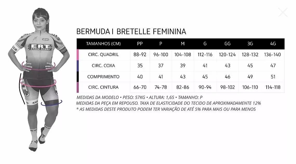 Bretelle Para Ciclismo Feminino ERT Racing Forro Gel Preto - Tamanho GG