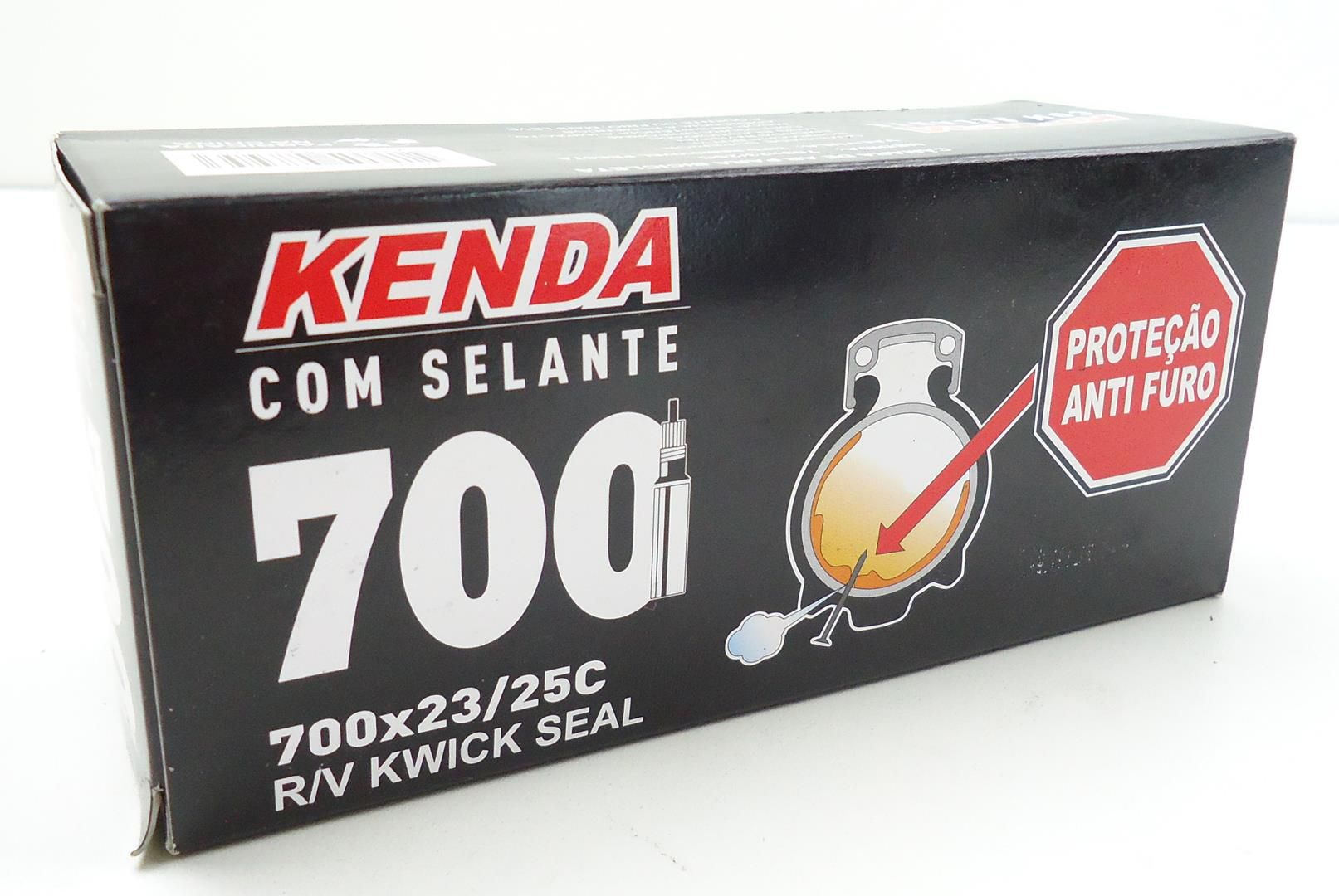 Câmara De Ar com Selante Bicicleta Speed Kenda Aro 700 x 23/25mm Válvula Presta Bico Fino Anti-Furo