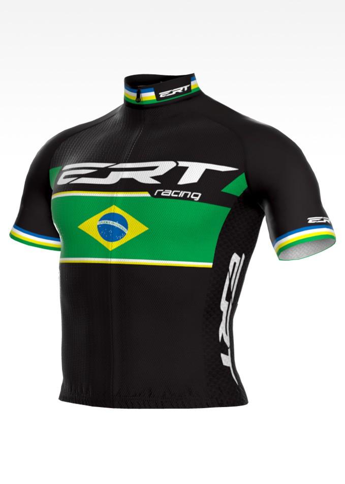 Camisa de Ciclismo ERT New Elite Racing Campeão Brasileiro Cor Preta - Vários Tamanhos