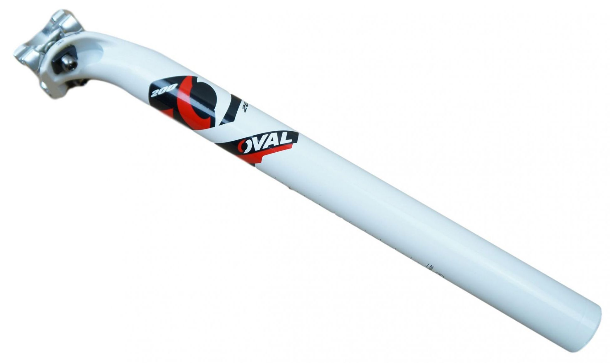 Canote Bicicleta Oval Concepts 200 31.6mm 350mm Em Aluminio Cor Branco com Vermelho