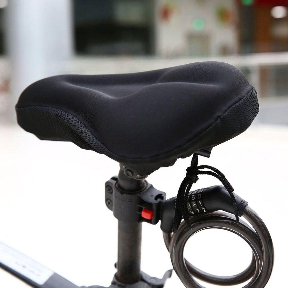 Capa de Banco Selim para Bicicleta em Gel Almofada Anatômica Serve em Spinning cor Preta
